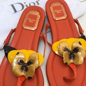 Dior Hand Painted Flower Thongs  38.5